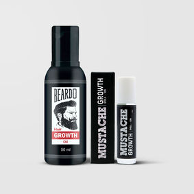 Beardo Growth Oil & Mustache Growth Roll On (Combo)
