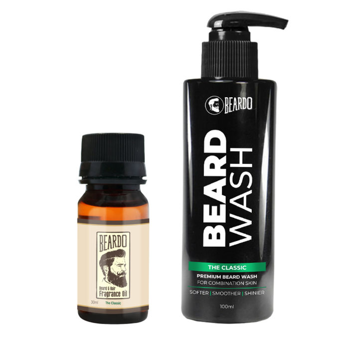 Beardo The Classic Beard Oil (30ml) & Beard Wash Combo (100ml)- For Combination Skin